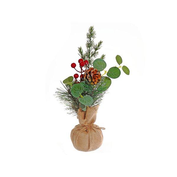 Petit arrangement d'aiguilles de pin par IH Casa Decor dans un pot en toile de jute, ens. de 2