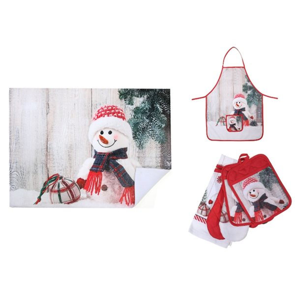 Ensemble de linge de cuisine avec imprimé de bonhomme de neige, 7 pièces