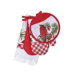 Ensemble d'accessoires de cuisine d'IH Casa Decor, imprimé cardinal rouge, 4 morceaux