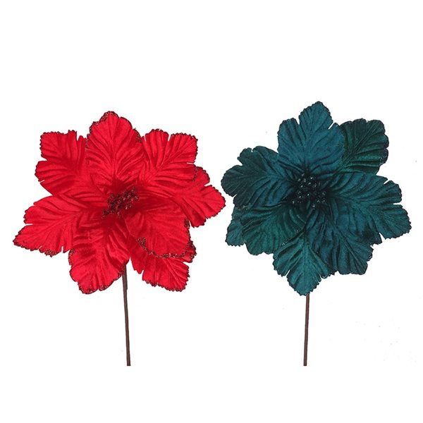 Ornements IH Casa Decor de poinsettia en velours de couleurs assorties, paquet de 6