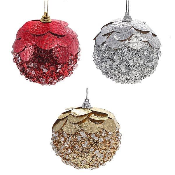 Ornements de Noël IH Casa Decor en plastique ronds en forme de gland perlé, paquet de 12