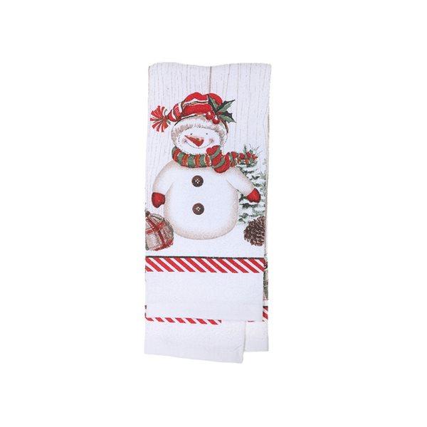 Serviettes pour les mains d'IH Casa Decor, imprimé bonhomme de neige, ens. de 3