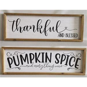 Décoration murale de Noël Thankful et Pumpkin Spice de 8,3 po par IH Casa Decor, ens. de 2