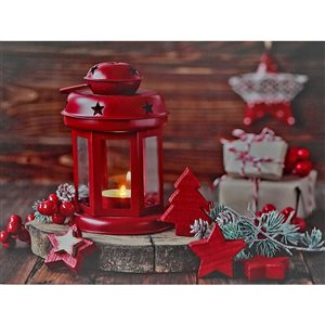 Décoration murale de Noël de 12 po avec lumière DEL par IH Casa Decor, lanterne rouge