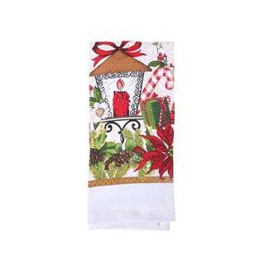 Serviettes pour les mains d'IH Casa Decor, imprimé festif de Noël, ens. de 3
