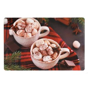 IH Casa Decor Plastic Rectangle Placemats with Hot Chocolate Pattern - 12-Pack