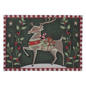 Napperons tissés rectangulaires IH Casa Decor avec rennes galopants, ens. de 12