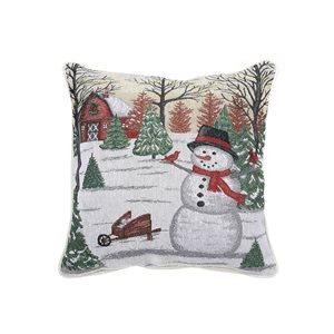Coussin en tapisserie d'IH Casa Decor, bonhomme de neige, ens. de 2