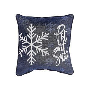 Coussin en tapisserie bleue d'IH Casa Decor, Let it snow, ens. de 2