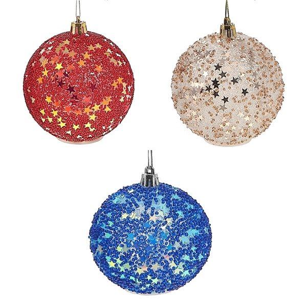 Ornements de Noël IH Casa Decor en plastique ronds à paillettes avec lumière à DEL, paquet de 12
