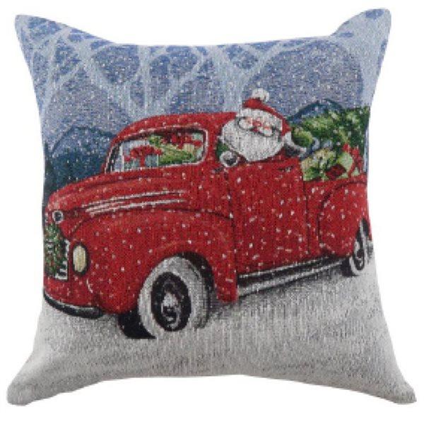 Coussin avec motif de camion du Père Noël par IH Casa Decor, ens. de 2