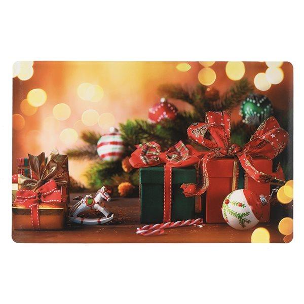 Napperons de plastique rectangulaires IH Casa Decor, motif de boîtes-cadeaux, ens. de 12