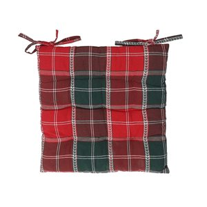 Coussinet de chaise carreauté rouge et noir d'IH Casa decor, ens. de 2