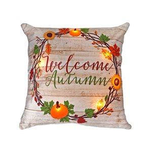 Coussin beige à DEL Welcome Autumn d'IH Casa Decor, ens. de 2