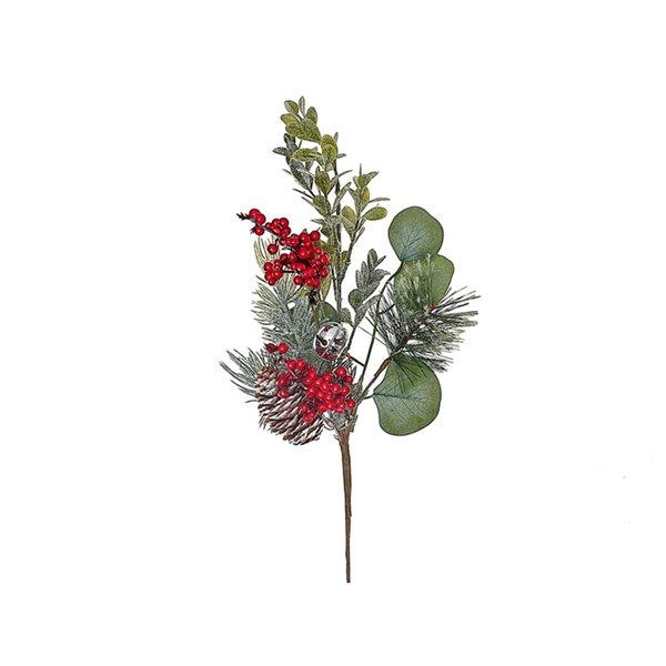 Ornement Casa Decor multicolore d'eucalyptus, baies et pin, paquet de 4