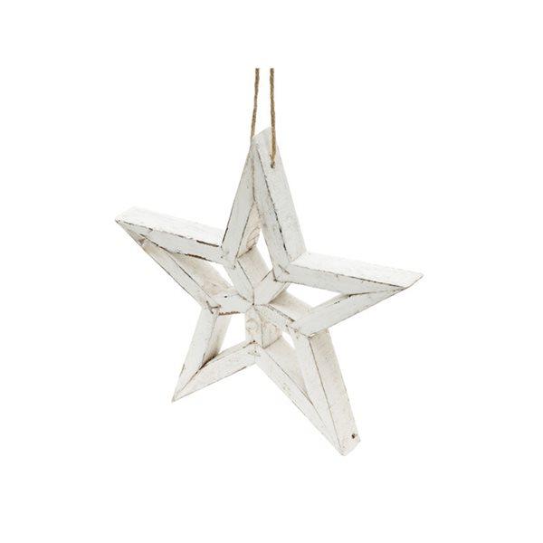 Ornement de Noël IH Casa Decor en forme d'étoile blanche en bois