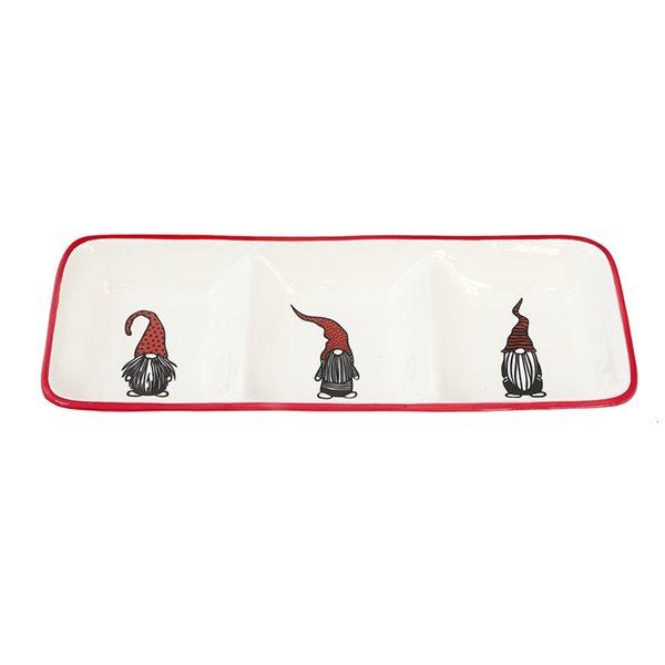 Plateau de service à 3 sections d'IH Casa Decor en céramique blanche et rouge de 13,3 po x 5,1 po