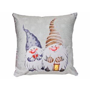 Coussin à DEL en velours d'IH Casa Decor, deux gnomes, ens. de 2