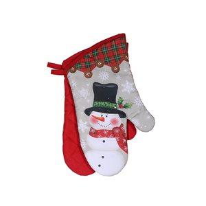 Mitaines de four d'IH Casa Decor, imprimé bonhomme de neige avec chapeau haut de forme, ens. de 2