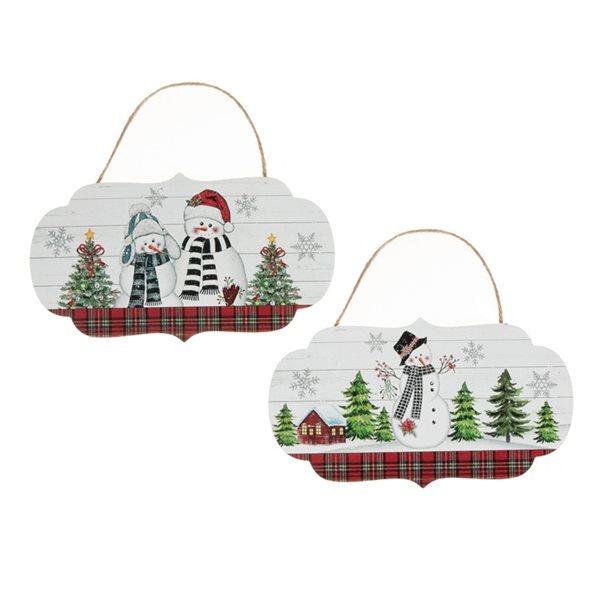Décoration de Noël de 5,5 po par IH Casa Decor, bonhomme de neige, ens. de 2