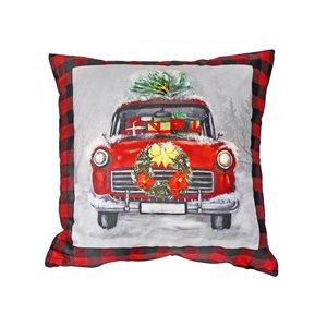 Coussin à DEL en velours carreauté rouge et noir d'IH Casa Decor, motif de camion, ens. de 2