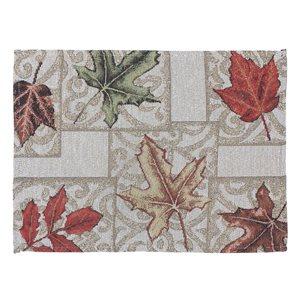 Napperons tissés rectangulaires IH Casa Decor avec motif de feuilles, ens. de 12