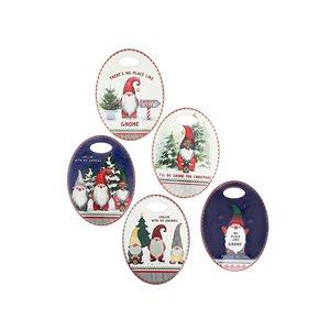 IH Casa Decor Christmas Gnomes Ceramic Oval Trivet - 6-Pack