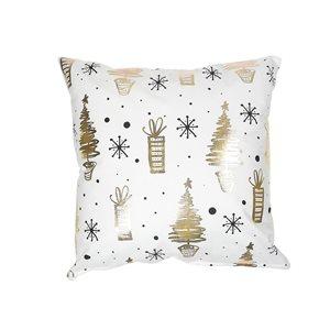 Coussin blanc et doré d'IH Casa Decor, arbres et cadeaux de Noël, ens. de 2