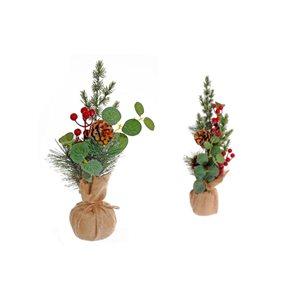 Arrangement d'aiguilles de pin par IH Casa Decor dans un pot en toile de jute, ens. de 2