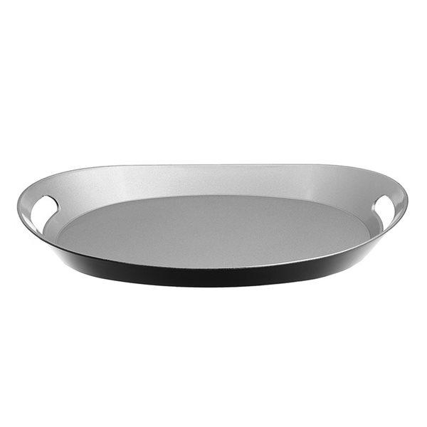 Plateau de service ovale en acrylique argenté d'IH Casa Decor de 19,7 po x 8,2 po