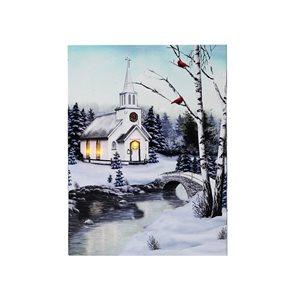 Décoration murale de Noël de 12 po avec lumière DEL par IH Casa Decor, église enneigée