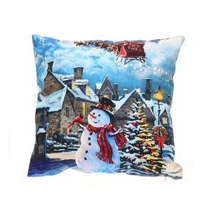 Coussin à DEL en velours d'IH Casa Decor, paysage de Noël, ens. de 2