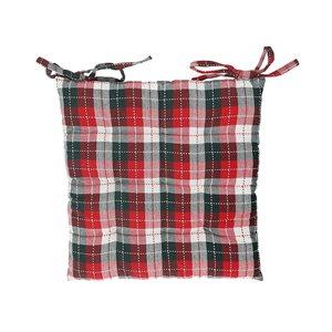 Coussinet de chaise carreauté blanc, noir et rouge d'IH Casa Decor, ens. de 2