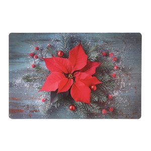 IH Casa Decor Plastic Rectangle Placemats with Poinsettia - 12-Pack