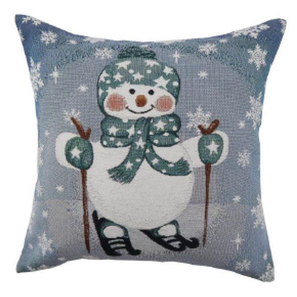 Coussin bleu d'IH Casa Decor, motif de bonhomme de neige, ens. de 2