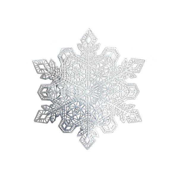 Napperons découpés en PVC IH Casa Decor, flocons de neige argentés, ens. de 12
