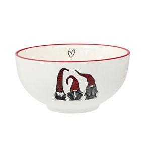 Bols en céramique blanche et rouge d'IH Casa Decor avec illustration de gnomes, ens. de 2