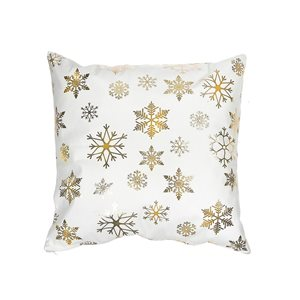 Coussin blanc et doré d'IH Casa Decor, flocons de neige, ens. de 2