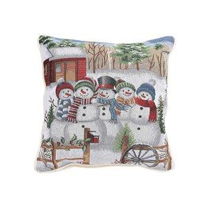 Coussin en tapisserie d'IH Casa Decor, cinq bonhommes de neige, ens. de 2