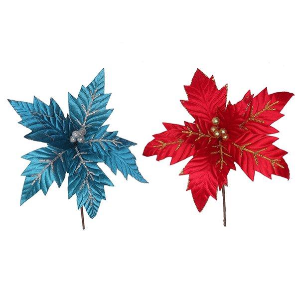 Ornements IH Casa Decor de poinsettia à veines scintillantes de couleurs assorties, paquet de 6