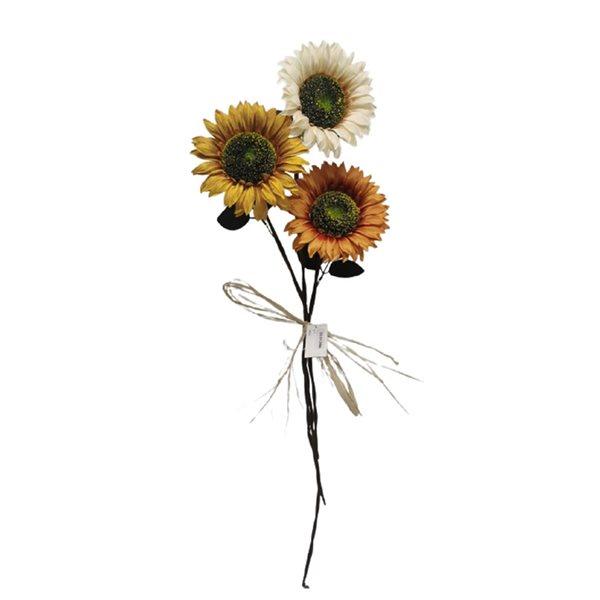 Arrangement décoratif de 3 tournesols d'IH Casa Decor, paquet de 2
