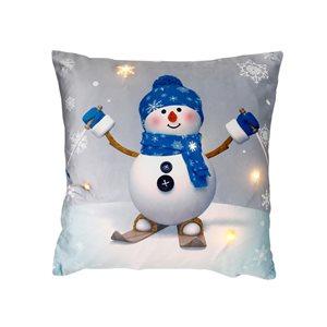 Coussin à DEL en velours d'IH Casa Decor, bonhomme de neige sur skis, ens. de 2