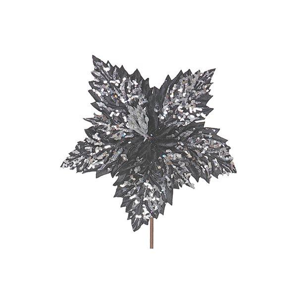 Ornements IH Casa Decor de poinsettia gris, paquet de 6