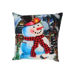 Coussin à DEL en velours d'IH Casa Decor, bonhomme de neige avec foulard, ens. de 2