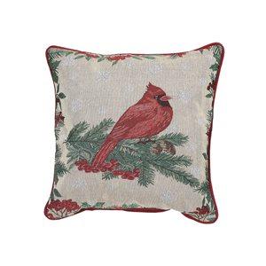Coussin en tapisserie d'IH Casa Decor, Cardinal rouge, ens. de 2