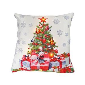 Coussin à DEL en velours d'IH Casa Decor, sapin de Noël avec cadeaux, ens. de 2