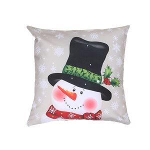 Coussin avec imprimé de bonhomme de neige avec chapeau d'IH Casa Decor, ens. de 2