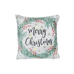 Coussin à DEL en velours avec couronne de Noël d'IH Casa Decor, Merry Christmas, ens. de 2