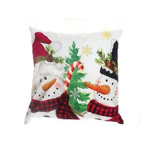 Coussin à DEL en velours d'IH Casa Decor, imprimé de bonhommes de neige, ens. de 2