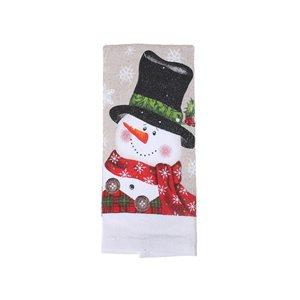 Serviettes pour les mains d'IH Casa Decor, imprimé bonhomme de neige avec chapeau haut de forme, ens. de 3